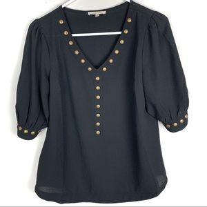 41 Hawthorn Gold Studded Black Cinched Sleeve Top
